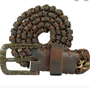 Diesel BChain Leather and Chain Brown Belt